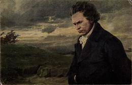Artiste Cp Wullf, H., Portrait Von Ludwig Van Beethoven Im Wind - Personnages Historiques