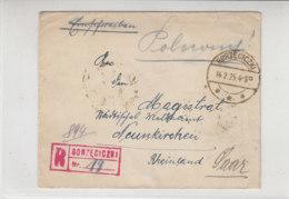 R-Brief Mit 4 Marken Rückseitig Frankiert Aus BORZECICZKI 14.2.25 Nach Neunkirchen / Saar - Unsauber Geöffnet - 1919-1939 Republik