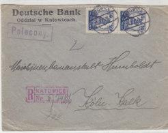 R-Bankbrief Der Deutschen Bank Aus KATOWICE 15.7.26 Nach Köln-Kalk 17.7.26 - 1919-1939 Republik
