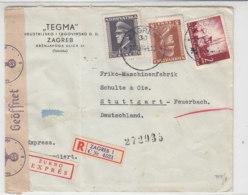 Zensur-R-Brief Und Express Aus ZAGREB 22.8.44 Nach Stuttgart / Brief War Gefaltet - Occupation 1938-45