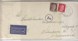 Zensurbrief Mit Luftpost Zum Sonderporto Aus GLEIWITZ 13.7.43 Nach Kopenhagen/Dänemark / überlanger Gefalteter Brief - Covers & Documents