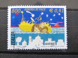*ITALIA* USATI 2001 - NATALE - SASSONE 2577 - LUSSO/FIOR DI STAMPA - 6. 1946-.. Repubblica