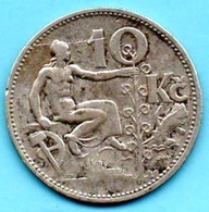 (r65)  TCHECOSLOVAQUIE  10 Korun 1932 Silver  KM#15 - Tchécoslovaquie