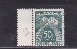 FRANCE TIMBRE TAXE TYPE GERBES DE 1946- 55 N° 88 VERT FONCE 50 FRANCS ** BDF - Segnatasse