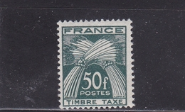FRANCE TIMBRE TAXE TYPE GERBES DE 1946- 55 N° 88 VERT FONCE 50 FRANCS ** BDF - Taxes