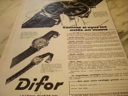 ANCIENNE PUBLICITE MONTRE DIFOR 1960 - Autres
