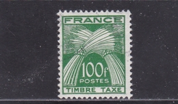 FRANCE TIMBRE TAXE TYPE GERBES DE 1946- 55 N° 89 VERT FONCE 100 FRANCS ** - Taxes