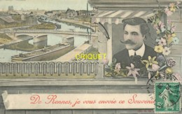 35 Rennes, Ancienne Fantaisie, Je Vous Envoie Ce Souvenir, Homme à La Fenêtre, Péniche..., 1909 - Rennes