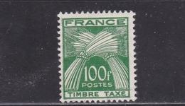 FRANCE TIMBRE TAXE TYPE GERBES DE 1946- 55 N° 89 VERT FONCE 100 FRANCS Sans Gomme - Taxes