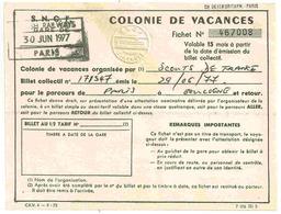 Britsh Railways - Billet Colonie De Vavances - 1977 - Chemins De Fer