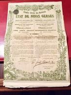 ÉTATS-UNIS  Du   BRÉSIL  ÉTAT  De  MINAS  GERAES ------Obligation  De  500 Frs - Actions & Titres