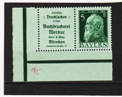 AUA1303 DEUTSCHLAND BAYERN 1911  MICHL R1 (*) FALZ  Am RAND MARKE ** Postfrisch SIEHE ABBILDUNG - Bayern