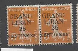 Grand Liban, Variété G Maigre, YT  N° 2  Neuf * En Paire Avec Normal - Ungebraucht