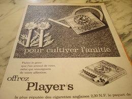 ANCIENNE PUBLICITE CULTIVER L AMITIE  CIGARETTE   PLAYER S 1960 - Tabac (objets Liés)