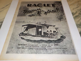 ANCIENNE PUBLICITE TENTE VACANCE RACLET 1960 - Publicités