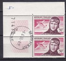 FRANCE POSTE AERIENNE 1955 MORT MARYSE BASTIE N° 34 OBLITERE 50F ROSE ET BRUN BLOC DE 2 TIMBRES BDF MORNANT - Airmail