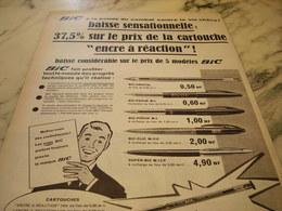 ANCIENNE PUBLICITE BAISSE SENSATIONNELLE  STYLO BIC   1960 - Autres Collections