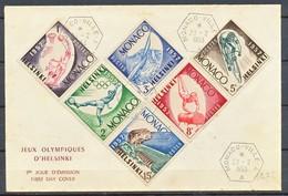 TIMBRE - MONACO - Jeux Olympiques Helsinki 1953 - Lettres & Documents