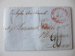 LETTRE  MARQUE POSTALE  MAURICE  /Bordeaux    1855     TBE - 1849-1876: Classic Period