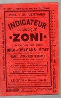 Nimes (Gard)  Indicateur ZONI (Midi, Orléans, Etat)  1916  (PPP17199) - Europe