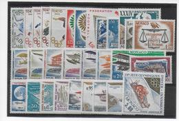PROMOTION MONACO - 1964 - ANNEE COMPLETE AVEC POSTE AERIENNE ** 30 TIMBRES - COTE YVERT = 36 EUROS - Monaco
