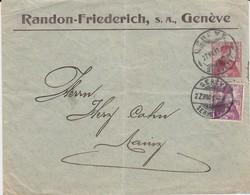 Schweiz Helvetia Privatganzsache PU 10 Rp ZF Randon-Friederich Genf Genéve 1911 - Entiers Postaux