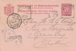 Nederlands Indië - 1900 - 7,5 Cent Cijfer, Briefkaart G12 Van VK MUNTOK Via VK NI Agent Singapore Naar Den Haag / NL - Indes Néerlandaises