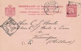 Nederlands Indië - 1903 - 7,5 Cent Cijfer, Briefkaart G12 Van VK TEGAL Via Weltevreden Naar GR Kampen / Nederland - Nederlands-Indië