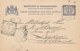 Nederlands Indië - 1905 - 7,5 Cent Vürtheim, Briefkaart G16 Van VK TJIMAHI Via Weltevreden Naar GR Leiden / Nederland - Indes Néerlandaises