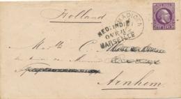 Nederlands Indië - 1879 - 25 Cent Willem III, Envelop G3 Van Rond- En Puntstempel MADIOEN Over Marseille Naar Arnhem - Nederlands-Indië