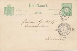 Nederlands Indië - 1887 - 5 Cent Cijfer, Briefkaart G8 Van KR GAROET Naar Batavia - Indes Néerlandaises
