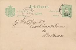 Nederlands Indië - 1888 - 5 Cent Cijfer, Briefkaart G8 Van KR BENKOELEN Naar Batavia - Indes Néerlandaises