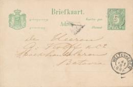 Nederlands Indië - 1888 - 5 Cent Cijfer, Briefkaart G8 Van KR SOEMEDANG Naar Batavia - Indes Néerlandaises