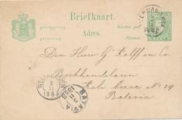 Nederlands Indië - 1888 - 5 Cent Cijfer, Briefkaart G8 Van Rondstempel POERWAKARTA Naar Batavia - Indes Néerlandaises
