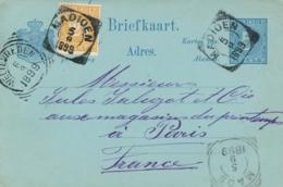 Nederlands Indië - 1899 - 2,5 Cent Cijfer Op 5 Cent Cijfer, Briefkaart G10 Van VK MADIOEN Via Maos Naar Paris / France - Indes Néerlandaises