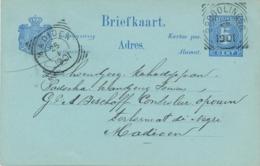 Nederlands Indië - 1901 - 5 Cent Cijfer, Briefkaart G10 Van VK PROBOLINGGO Naar VK MADIOEN - Indes Néerlandaises