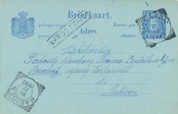 Nederlands Indië - 1900 - 5 Cent Cijfer, Briefkaart G10 Van VK SIDOARDJO - Na Posttijd - Naar VK MADIOEN - Niederländisch-Indien