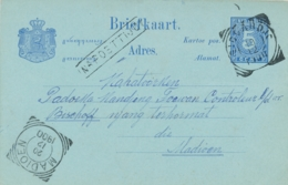 Nederlands Indië - 1900 - 5 Cent Cijfer, Briefkaart G10 Van VK SIDOARDJO - Na Posttijd - Naar VK MADIOEN - Nederlands-Indië