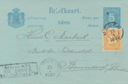Nederlands Indië - 1892 - 2,5 Cent Cijfer T11,5:12 Op Briefkaart Van KR Medan Via Britsche Pakketb En Penang Naar Baden - Indes Néerlandaises