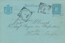 Nederlands Indië - 1894 - 5 Cent Cijfer, Briefkaart G10 Van VK BANDJERMASIN Naar VK KOTARADJA - Indes Néerlandaises