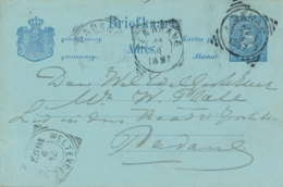 Nederlands Indië - 1897 - 5 Cent Cijfer, Briefkaart G10 Van VK DEMAK Naar VK Padang - Indes Néerlandaises