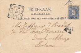 Nederlands Indië - 1903 - 5 Cent Cijfer Op Briefkaartfront Van L EMMAHAVEN Via Padang Naar Batavia - Front Only - India Holandeses
