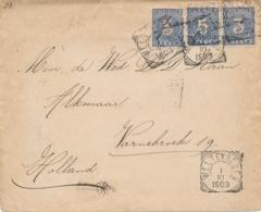 Nederlands Indië - 1903 - 3x 5 Cent Cijfer Op Cover Van VK Weltevreden Naar Alkmaar / Nederland - Indes Néerlandaises