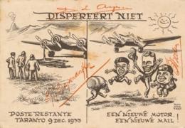 Nederland - Nederlands Indië - 1933 - Taranto Kaart Naar Crew Van Gestrande Postjager - Nederlands-Indië