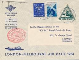 Nederlands Indië - 1934 - London-Melbourne Air Race Cover Van Den Haag Naar Sydney - Nederlands-Indië