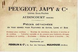 SANS DATE CIRCA 1899 PEUGEOT JAPY ET CIE à  AUDINCOURT (Doubs) CARTE DE VISITE FEDERLIN à Mulhouse B.E. - France