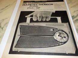 ANCIENNE PUBLICITE TRANSISTOR DUCRETET THOMSON  1960 - Radio & TSF