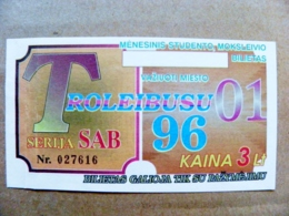 Old Transport Ticket From Lithuania Bus Monthly Ticket Kaunas City 1996 Trolley January - Season Ticket