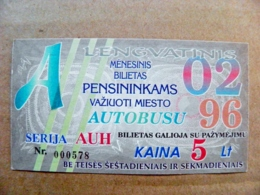 Old Transport Ticket From Lithuania Bus Monthly Ticket Kaunas City 1996 February - Abbonamenti