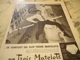 ANCIENNE PUBLICITE ON LE RECONNAIT DES TROIS MATELOTS 1960 - Habits & Linge D'époque